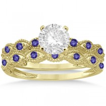 Antique Tanzanite Bridal Set Marquise Shape 18k Yellow Gold 0.36ct