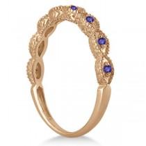Antique Marquise Shape Tanzanite Wedding Ring 14k Rose Gold (0.18ct)