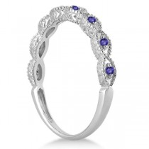 Antique Marquise Shape Tanzanite Wedding Ring 14k White Gold (0.18ct)