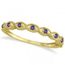 Antique Marquise Shape Tanzanite Wedding Ring 14k Yellow Gold (0.18ct)