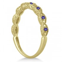Antique Marquise Shape Tanzanite Wedding Ring 14k Yellow Gold (0.18ct)