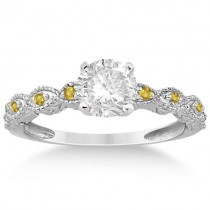 Vintage Marquise Yellow Sapphire Engagement Ring Platinum (0.18ct)