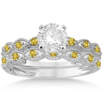 Antique Yellow Sapphire Bridal Set Marquise Shape 18K White Gold 0.36ct