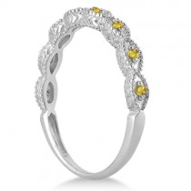 Antique Marquise Shape Yellow Sapphire Wedding Ring 14k White Gold (0.18ct)