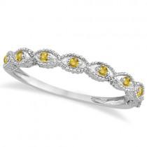 Antique Marquise Shape Yellow Sapphire Wedding Ring Platinum (0.18ct)