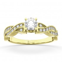 Infinity Twisted Diamond Engagement Ring 14k Yellow Gold (0.25ct)