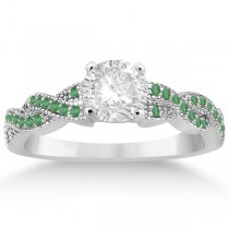 Infinity Style Twisted Emerald Engagement Ring in Palladium (0.25ct)