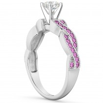 Infinity Twisted Pink Sapphire Engagement Ring 18k White Gold (0.25ct)