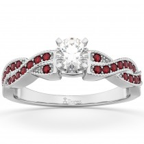 Infinity Style Twisted Ruby Engagement Ring 14k White Gold (0.25ct)
