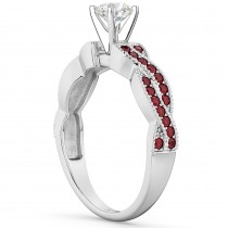 Infinity Style Twisted Ruby Engagement Ring 18k White Gold (0.25ct)
