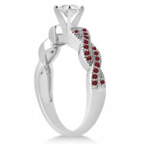 Infinity Style Twisted Ruby Engagement Ring in Palladium (0.25ct)