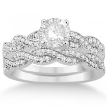 Infinity Style Bridal Set w/ Diamond Accents 14k White Gold (0.55ct)