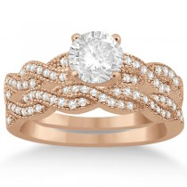 Infinity Style Bridal Set w/ Diamond Accents 18k Rose Gold (0.55ct)