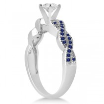Infinity Twisted Blue Sapphire Bridal Set Setting 18k W Gold (0.55ct)