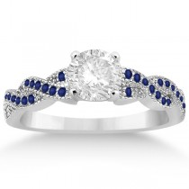 Infinity Twisted Blue Sapphire Bridal Set Setting in Palladium (0.55ct)
