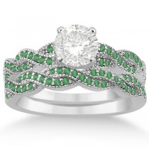 Infinity Style Twisted Emerald Bridal Set Setting 18k W Gold (0.55ct)