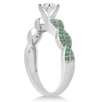 Infinity Style Twisted Emerald Bridal Set Setting 18k W Gold (0.55ct)