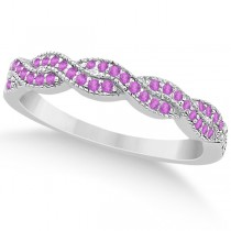 Infinity Twisted Pink Sapphire Bridal Set Setting 14k W Gold (0.55ct)