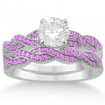 Infinity Twisted Pink Sapphire Bridal Set Setting 18k W Gold (0.55ct)