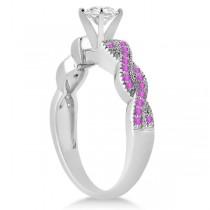 Infinity Twisted Pink Sapphire Bridal Set Setting 18k W Gold (0.55ct)