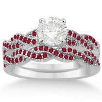 Infinity Style Twisted Ruby Bridal Set Setting 18k W Gold (0.55ct)