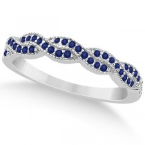 Blue Sapphire Infinity Semi Eternity Wedding Band 14k W Gold (0.30ct)