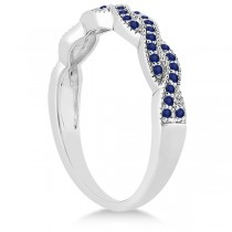 Blue Sapphire Infinity Semi Eternity Wedding Band 18k W Gold (0.30ct)