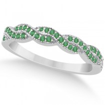 Emerald Infinity Style Semi Eternity Wedding Band 18k W Gold (0.30ct)