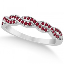 Ruby Infinity Style Semi Eternity Wedding Band in Palladium (0.30ct)