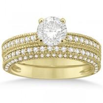 Vintage Heirloom Round-Cut Diamond Bridal Set 14k Yellow Gold (1.32ct)