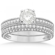 Vintage Heirloom Round-Cut Diamond Bridal Set Platinum (1.32ct)