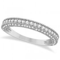Vintage Heirloom Diamond Wedding Band in 18k White Gold (0.72ct)