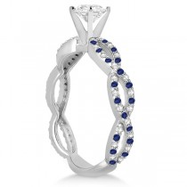 Pave Diamond & Blue Sapphire Infinity Eternity Engagement Ring 18k White Gold (0.40ct)