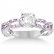 Pave Diamond & Pink Sapphire Infinity Eternity Engagement Ring 18k White Gold (0.40ct)