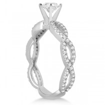Pave Diamond Infinity Eternity Engagement Ring Platinum Setting (0.40ct)