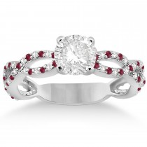 Pave Diamond & Ruby  Infinity Eternity Engagement Ring 18k White Gold (0.40ct)