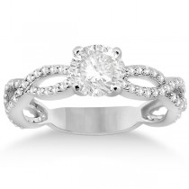 Infinity Diamond Engagement Ring with Band 18k White Gold (0.65ct)