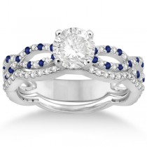Infinity Diamond & Blue Sapphire Engagement Ring with Band 14k White Gold (0.65ct)