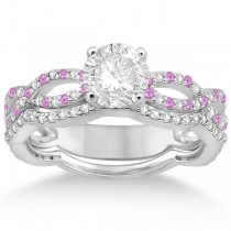 Infinity Diamond & Pink Sapphire Engagement Ring with Band 18k White Gold (0.65ct)