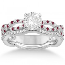 Infinity Diamond & Ruby Engagement Ring with Band 18k White Gold (0.65ct)