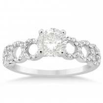 Diamond Twisted Engagement Ring Setting 14k White Gold (0.28ct)