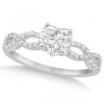 Twisted Infinity Heart Diamond Engagement Ring 14k White Gold (1.00ct)