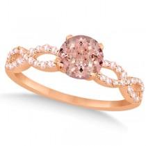 Infinity Diamond & Morganite Engagement Ring 14K Rose Gold 1.05ct