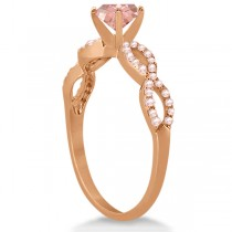 Diamond & Morganite Infinity Engagement Ring 14K Rose Gold 1.45ct