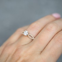 Twisted Infinity Diamond Engagement Ring Setting 14K Rose Gold (0.21ct)