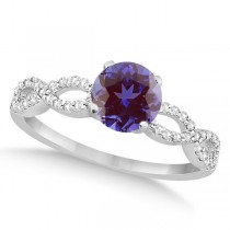 Infinity Diamond & Alexandrite Engagement Ring 14K White Gold 1.05ct