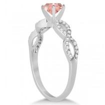 Infinity Diamond & Morganite Engagement Ring 14K White Gold 1.05ct