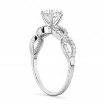 Twisted Infinity Diamond Engagement Ring Setting 18K White Gold (0.21ct)