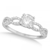 Twisted Infinity Round Diamond Engagement Ring 14k White Gold (0.75ct)