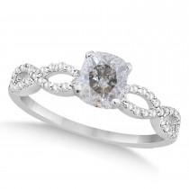 Infinity Cushion-Cut Salt & Pepper Diamond Engagement Ring 14k White Gold (1.00ct)